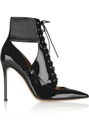 I like the stretch around the ankle  Gianvito RossiLace-up patent-leather ankle boots