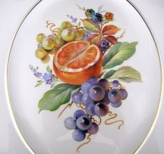 Painted Plates, Ceramic Plates, Mixed Fruit, China Painting, Fruit Art, Paint Designs, Fruits And Vegetables, Beautiful Flowers, Decoupage