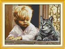 Boy and cat Patterns Counted Cross Stitch 11CT 14CT Cross Stitch Set Animals Embroidery for Home Decor Needlework R843(China (Mainland))