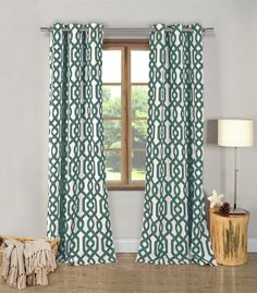 Green Geometric Window Curtains