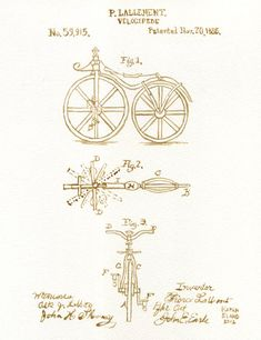 Velocipede beer painting of 1866 patent drawing by BeerPainter, $20.00