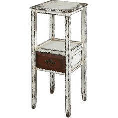 Parcelle Collection Accent Table with Drawer, White