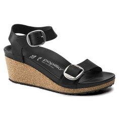 BIRKENSTOCK Soley Oiled Leather Black in all sizes ✓ Buy directly from the manufacturer online ✓ All fashion trends from Birkenstock Leather Heels, Real Leather, Birkenstock Style, Black And White Shoes, Calf Muscles, Black Oil, Navy Shoes, Back Strap, Back To Black