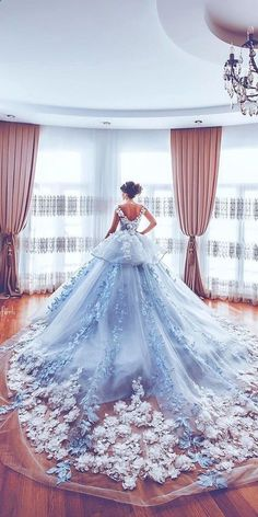 Beautiful Floral Wedding Dresses To Get Inspired! Beautiful Floral Wedding Dresses To Get Inspired! Luxurious Off the Shoulder Beading Wedding Dress Crystal Tiered Chapel Train Bridal Gowns Quince Dresses, Ball Dresses, Prom Dresses, Cinderella Dresses, Dresses For Balls, Blue Quinceanera Dresses, Cinderella Ballgown, Bridesmaid Dresses, Mini Dresses