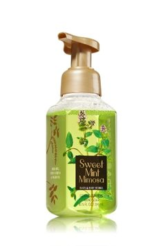 Sweet Mint Mimosa - Gentle Foaming Hand Soap - Bath & Body Works - Our Gentle Foaming Hand Soap is formulated with antioxidant-rich Vitamins A & E and skin-essential nutrient Vitamin B. The rich, creamy lather gently washes away dirt and germs, while conditioning Aloe leaves hands feeling soft, smooth, and lightly scented.