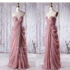 2017 Dusty Rose Bridesmaid Dress, Sweetheart Wedding Dress, Strapless Prom Dress, Asymmetric Draped Evening Gown Floor Length (T165)