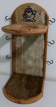 Rustic Crafts, Wood Crafts, Diy And Crafts, Coffee Bar Home, Coffee Shop, Garden Shelves, Wood Shop Projects, Indian Home Interior, Coffee Stands