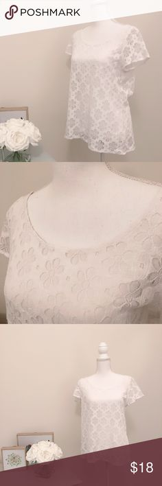 Lilly Pulitzer White  Lace Cover T-Shirt Size M Gotta make some room in my closet and need to find this piece a new loving owner. Excellent condition. No trades. Smoke free home. Feel free to comment if you'd like measurements! Thanks :) I am 5'6 and 115/120 lbs. Lilly Pulitzer Tops Tees - Short Sleeve