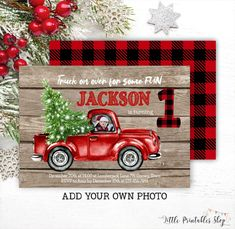 Rustic Christmas Truck Birthday Invitation with Photo, Editable Red Truck Birthday Invite, Lumberjack Printable Template, Instant Access Christmas Birthday Party, Christmas Truck, Christmas Photo Cards, Boy Birthday Parties, Rustic Christmas, Christmas Fun, Airplane Baby Shower, Photo Birthday Invitations, Birthday Photos