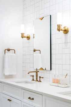 Bathroom Trends: Are Stacked Tiles the New Subway Tile? Bathroom Trends: Are Stacked Tiles the New Subway Tile? Boho Bathroom, Bathroom Trends, Bathroom Renovations, Modern Bathroom, Bathroom Ideas, Small Bathrooms, White Bathrooms, Bathroom Lighting, Bathroom Mirrors