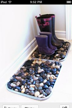 This is a really good idea for winter cause when you have lots of snowy boots coming inside you fill a boot tray with rocks and it soaks up all the water