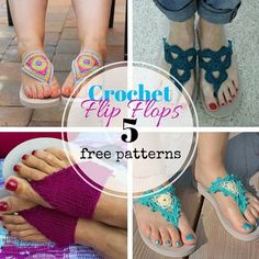 Crochet flip flops: 4 free crochet patterns and a knitting pattern. https://www.facebook.com/HappyInRed