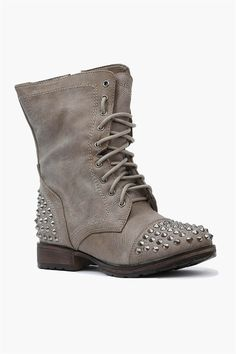 Rylie Studded Combat Boots in Stone