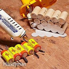 Rebuild a cordless tool battery: Glue together the new cells for the cordless tool battery.