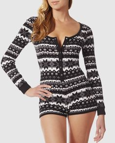 Look good while you get your beauty rest in our favourite thermal romper!  Super cozy and comfy cotton with a cheeky fit for a flirty look.
