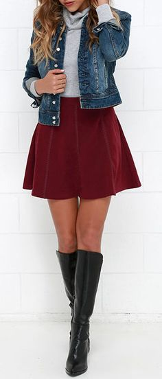 Wrangle the Wind Wine Red Suede Skirt