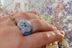 Your place to buy and sell all things handmade Resin Ring, Resin Jewelry, Blue Rings, Silver Rings, Jewelry Ideas, Unique Jewelry, Real Flowers, Terrarium, Rings For Men