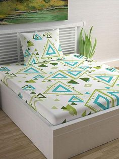 Antigua Sand And Greenery Geometric Cotton Single Bedsheet With 1 Pillow Cover – Divine Casa