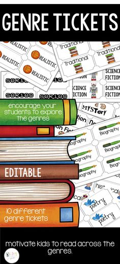 motivate your students to read across the genres… these genre tickets are a way to get them to branch out Mystery Genre, Science Fiction Series, Recording Sheets, Fourth Grade, Motivate Yourself, Ticket, Encouragement, Students, Classroom