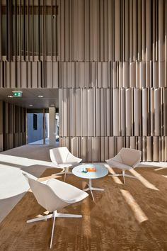 Image 8 of 23 from gallery of Enovos Luxembourg Headquarter / Jim Clemes Atelier d´Architecture et de Design. Photograph by Steve Troes Fotodesign Design Entrée, Lobby Design, Deco Design, Wall Design, Design Ideas, Lobby Interior, Interior Walls, Interior Architecture, Interior And Exterior