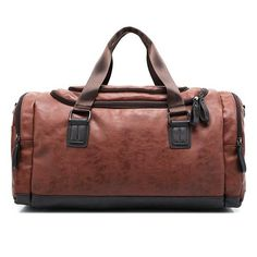 Men s PU Leather Sports Bag Duffel Tote Handbags Travel Bag for Gym bb443cb92a990