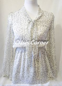 LONG SLEEVE POLKA DOT BLK/WHITE SHEER BLOUSE TUNIC STRETCH WAIST (S) (FREE SHIP) #Unbranded #Blouse #Casual