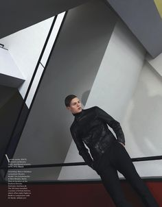 Tim Schuhmacher in an editorial shot by Anuschka Blommers and Niels Schumm in the buildings of the famous Bauhaus school of arts and design in Germany for the Australian GQ September 2013 Issue