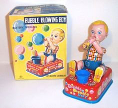 MINT 1950's BATTERY OPERATED BUBBLE BLOWING BOY TIN LITHO TOY MIB Y Co. JAPAN