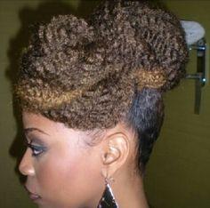 Natural hair, highlights, marley hair up do. Wedding hair.