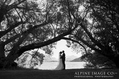 Silhouettes make for beautiful, arty wedding photos. Photography by Alpine Image Company.