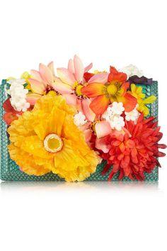 KOTUR Kemble silk floral-appliquéd elaphe clutch