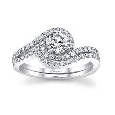 White gold diamond engagement ring set - 7597SW B-E-A-utiful