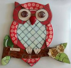 Owl Mosaic, Butterfly Mosaic, Mosaic Birds, Mosaic Diy, Mosaic Garden, Mosaic Crafts, Mosaic Projects, Stained Glass Projects, Stained Glass Art