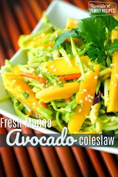 This Fresh Mango Avocado Coleslaw is such a flavorful and colorful summer salad! We will be eating this delicious side dish all summer! The Effective Pictures Read Mango Recipes, Avocado Recipes, Summer Recipes, Asian Recipes, Side Dishes Easy, Vegetable Side Dishes, Side Dish Recipes, Easy Salads, Summer Salads