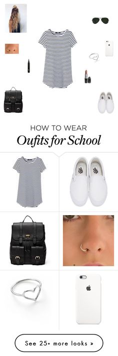 """""""back to school outfit #2"""" by synclairel on Polyvore featuring Vans, Sole Society, Ray-Ban, Jordan Askill, Summer, cute, casual and ootd"""