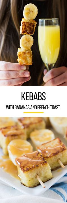 Bananas Foster French Toast Kebab for a Brunch Party/French toast is incredibly delicious, but it's not exactly portable — especially when topped with bananas and caramel (savory birthday treats) Brunch Ideas For A Crowd, Easy Brunch Recipes, Healthy Brunch, Food For A Crowd, Breakfast Recipes, Breakfast Ideas, Group Breakfast, Free Breakfast, Eat Breakfast