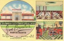 Zm798 Rare Linen Joe Brocato S Restaurants E King Highway Shreveport L A Louisiana