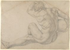 Bronzino (Agnolo di Cosimo di Mariano), 1503-1572, Italian, Seated Male Nude (Study for the Martyrdom of St. Lawrence), 1565-69.  Black chalk, glued onto secondary support: 33 x 46.2 cm.  Metropolitan Museum of Art, New York.  Mannerism.