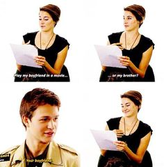 And TFiOS. Shailene Woodley (Hazel) and Ansel Elgort (Gus). If you thought Theo's and Shay's chemistry was incredible just wait and these these two together. Divergent Trilogy, Divergent Insurgent Allegiant, Tfios, Shailene Woodley, Kate Winslet, American Horror Story, Hunger Games, Jhon Green, John Green Books