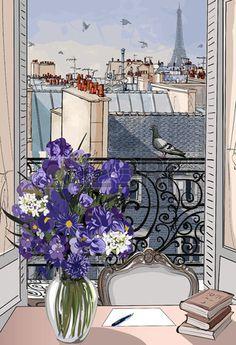 Vector illustration fen tre ouverte sur les toits de Paris Banque d'images