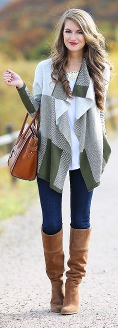 Plaid Drape Front Cardigan Fal Inspo by Southern Curls and pearls