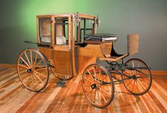 The Summer Coupe Brougham was made in 1908. The wood is oak and white ash, though the carriage was originally painted black.  http://nwcarriagemuseum.org/ history, carriages, victorian, edwardian, 1890's, 1900's.