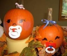 Halloween Pumpkin Baby Shower Theme Ideas. These are just cute my girls would like them.