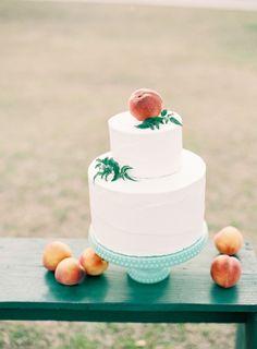 White and peach cake