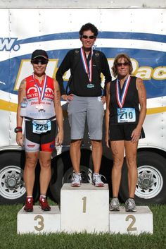 The Run Diva on the podium at one of the Multirace.com duathlons in south Florida.