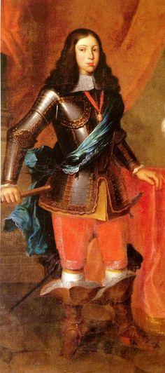 """Afonso VI (Lisboa, 21 de agosto de 1643 – Sintra, 12 de setembro de 1683), apelidado de """"o Vitorioso"""", foi o Rei de Portugal e Algarves de 1656 até sua morte, o segundo monarca português da Casa de Bragança. Era filho do rei João IV e sua esposa Luísa de Gusmão"""