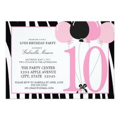 68 10th birthday party invitations