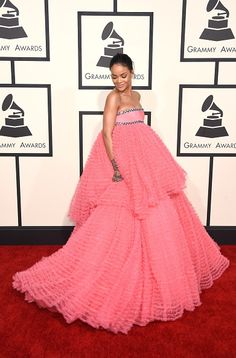 Rihanna walks the red carpet in a pink Giambattista Valli gownat the 57th Annual GRAMMY Awards on Feb. 8, 2015, in Los Angeles