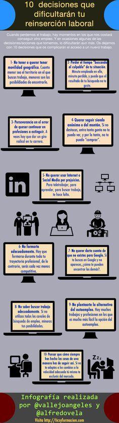 10 decisiones que dificultarán tu reinserción laboral #infografia