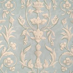 Scalamandre ARABESQUE Plaster White On Gustavian Blue Fresco Wallpaper